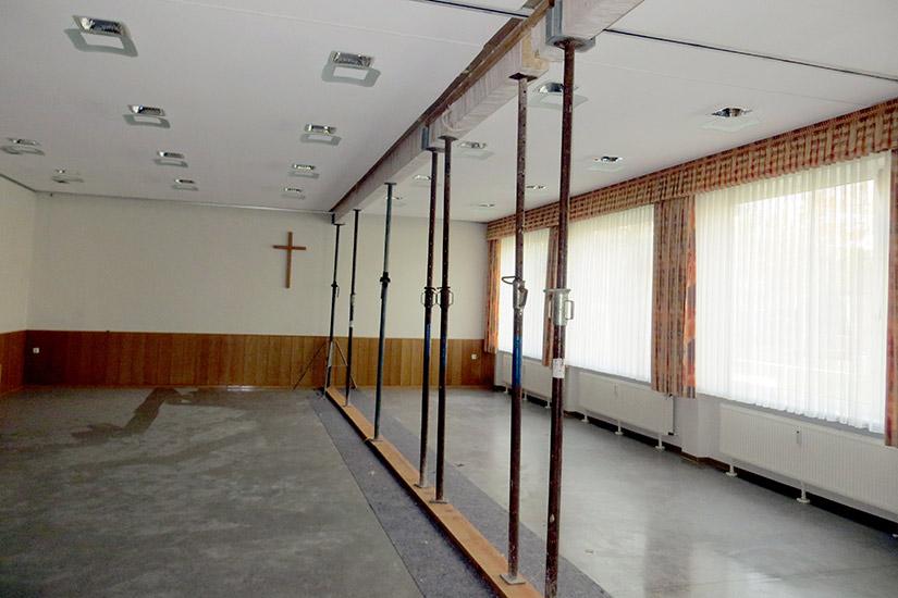 Sicherungsmaßnahmen im Gemeindesaal